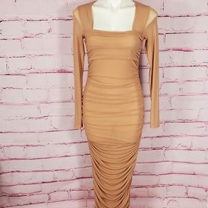 Nude Mesh Ruched Long Sleeve Maxi Dress